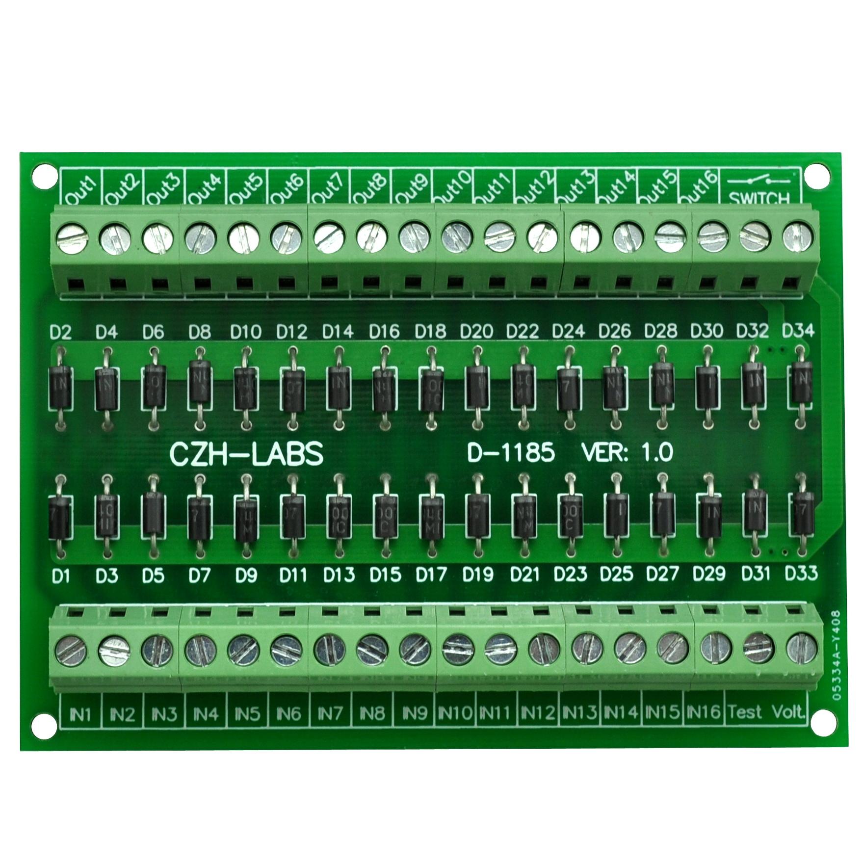 Electronics-Salon DIN Rail Mount 1 Amp 1000V 8 Individual Diode Module 1N4007.